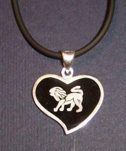 Pandantiv din argint pe siret negru - Leu