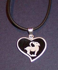 Pandantiv din argint pe siret negru - Capricorn