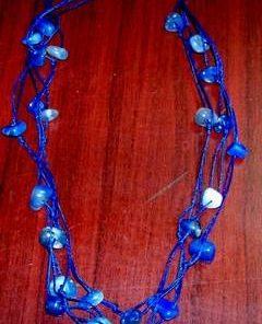 Colier din agat albastru, pe siret albastru - deosebit!