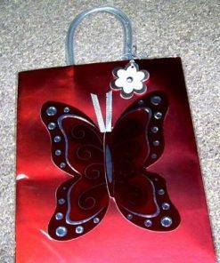 Punguta cadou cu fluturele dragostei - rosu/argintiu