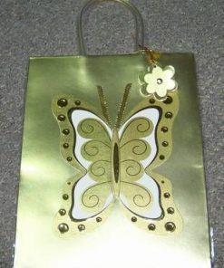 Punguta cadou cu fluturele dragostei - auriu/argintiu