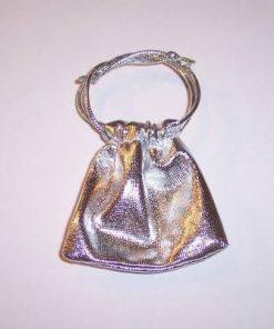 Saculet argintiu cu siret pentru inchidere