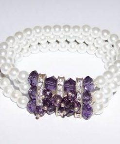 Bratara din ametist cu perle, pe elastic