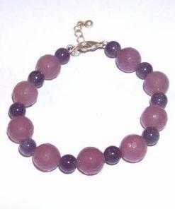 Bratara cu cristale de ametist si cuart roz