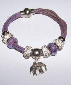 Bratara trendy cu piele, metal si elefant stilizat