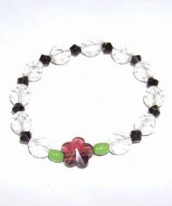 Bratara din cristale multifatetate cu floarea norocului