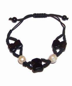 Bratara cu perle si cifra 8 stilizata, reglabila - onix