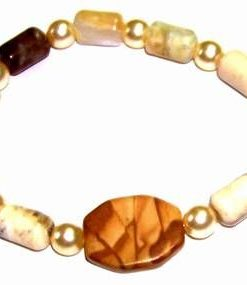 Bratara din aragonit si perle, pe elastic - unicata!