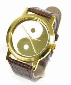 Ceas Feng Shui cu mecanism cuart - Yin-Yang auriu