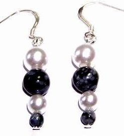 Cercei fantezie din obsidian si perle - pe argint