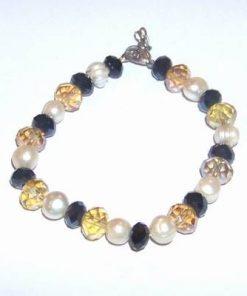 Bratara cu perle si cristale - tip citrin si onix
