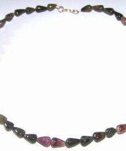 Colier din turmalina multicolora, cu inchizatoare din argint