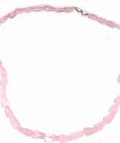 Colier din cristale de cuart roz, cu inchizatoare argintata