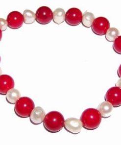 Bratara din coral cu perle de cultura, pe elastic