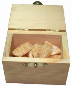 Cufar din lemn cu cristale in forma bruta - CITRIN