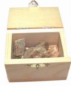 Cufar din lemn cu cristale in forma bruta - ONIX