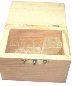 Cufar din lemn cu cristale in forma bruta - CALCIT