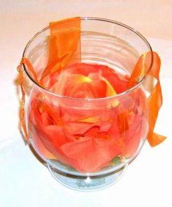 Vaza - bol, din sticla cu trandafir portocaliu