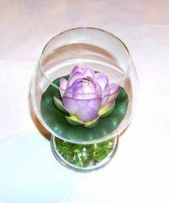 Vaza - bol, din sticla, cu floare de Lotus mov