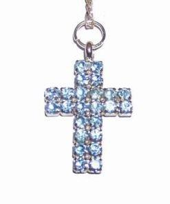 Cruciulita din metal nobil cu cristale bleumarin, pe lant