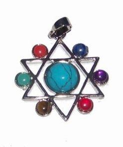 Pandantiv pentagrama cu chakre pentru echilibru turcoaz