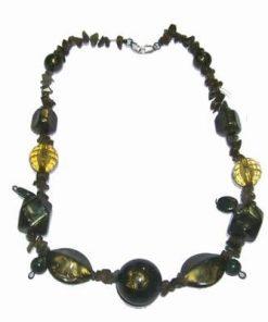 Colier fantezie oliv cu cristale de labradorit