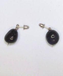 Cercei din obsidian curcubeu cu surub