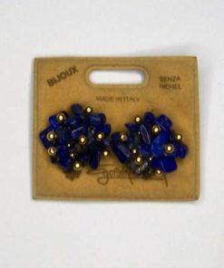Cercei clips cu lapis lazuli si accesorii auri