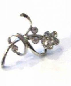 Brosa argintie, eleganta-floare cu cristale