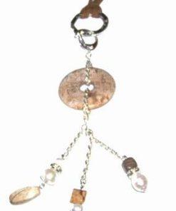 Colier fantezie cu cristale de jasp maro si perle