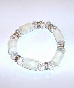 Bratara pe elastic cu cristale albe si transparente