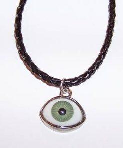 Pandantiv cu Ochiul lui Horus verde pe siret negru