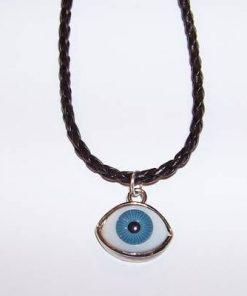 Pandantiv cu Ochiul lui Horus albastru pe siret negru