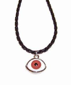 Pandantiv cu Ochiul lui Horus rosu pe siret negru