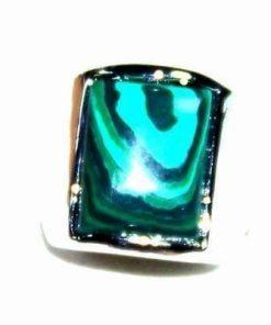 Inel din cristal de malachit in montura metalica - unicat!