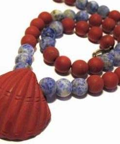 Colier chakra cu lapis lazuli si jasp rosu