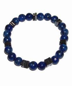Bratara cu lapis lazuli si hematit, pe elastic