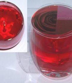 Lumanare cu gel transparent si trandafir rosu