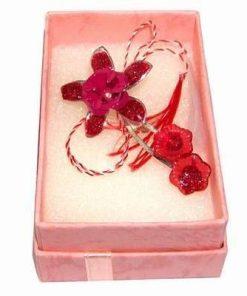 Brosa Trandafir rosu cu snur de Martisor