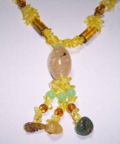 Colier din citrin si jad  cristale mixte - model deosebit !