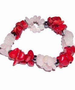 Bratara din coral, cuart roz si hematit, pe elastic