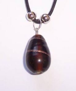 Pandantiv din sticla de Murano pe siret negru, cerat
