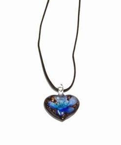 Inima din cristal de Murano pe siret negru