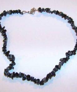Colier din cristale de obsidian fulg de nea