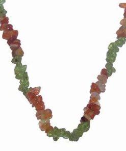 Colier din cristale de olivina si calcedonie