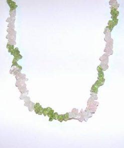 Colier cu cristale de olivina si cuart roz