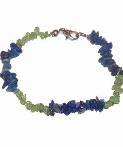 Bratara cu cristale de olivina si lapis lazuli