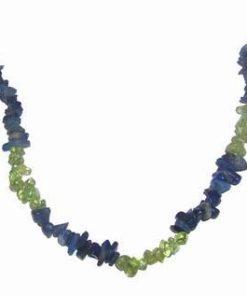 Colier din cristale de olivina si lapis lazuli