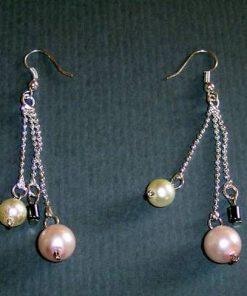 Cercei cu sidef-perle si hematit