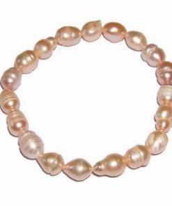 Bratara din perle de cultura, roz, pe elastic